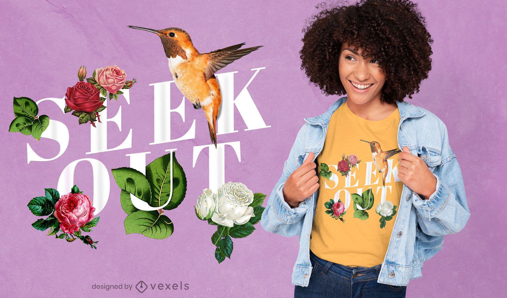 Floral seek out psd t-shirt design