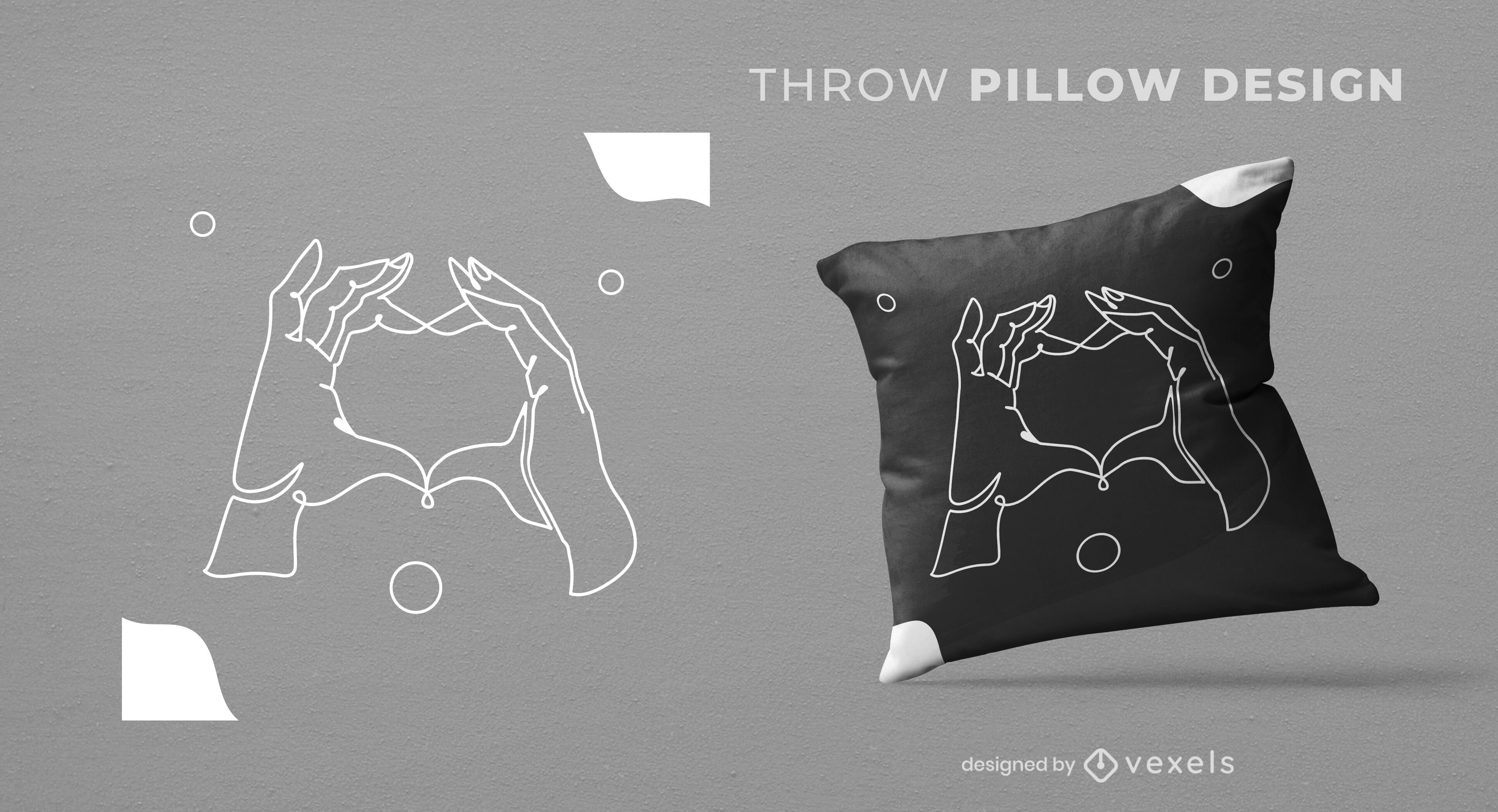 Diseño de almohada de tiro de manos en forma de corazón