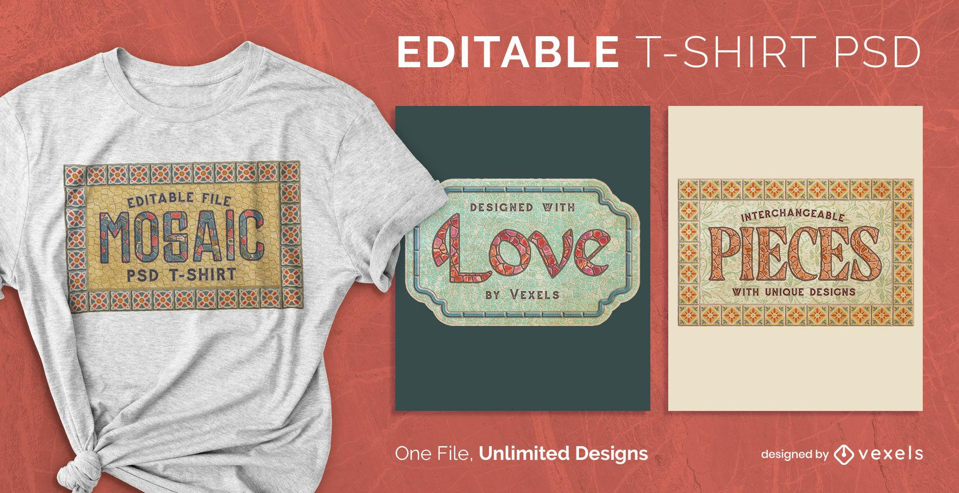Camiseta escalable con cita de mosaico decorativo psd