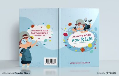 Kids activity book geometric shapes cover design