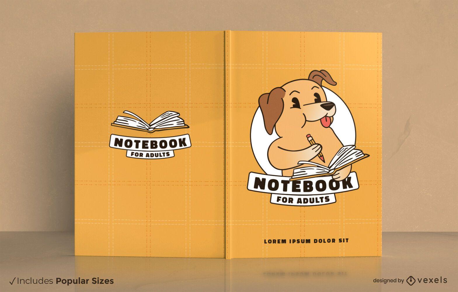 Cuaderno para adultos diseño de portada de dibujos animados de perro