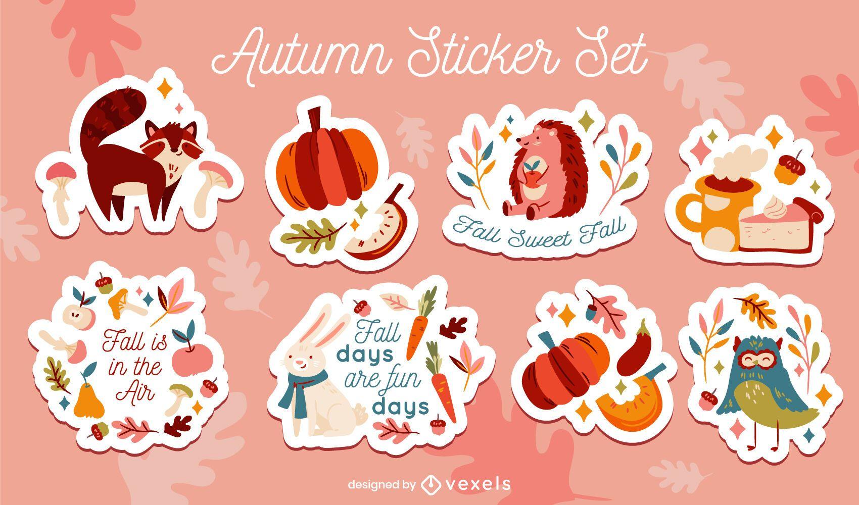 Conjunto de pegatinas de naturaleza de animales de temporada de otoño