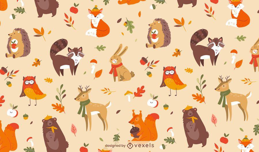 Autumn season cute animal pattern design
