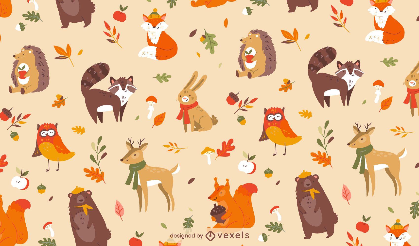 Projeto de padrão animal fofo na temporada de outono