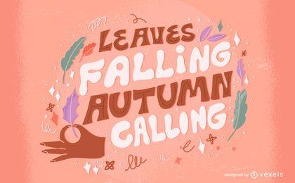 Autumn season leaves nature lettering