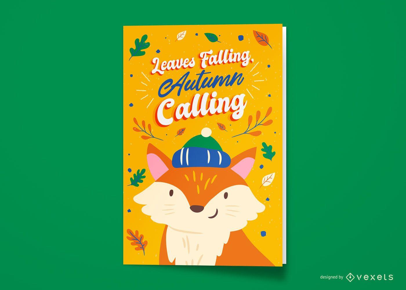 Design de cartão comemorativo da raposa da temporada de outono