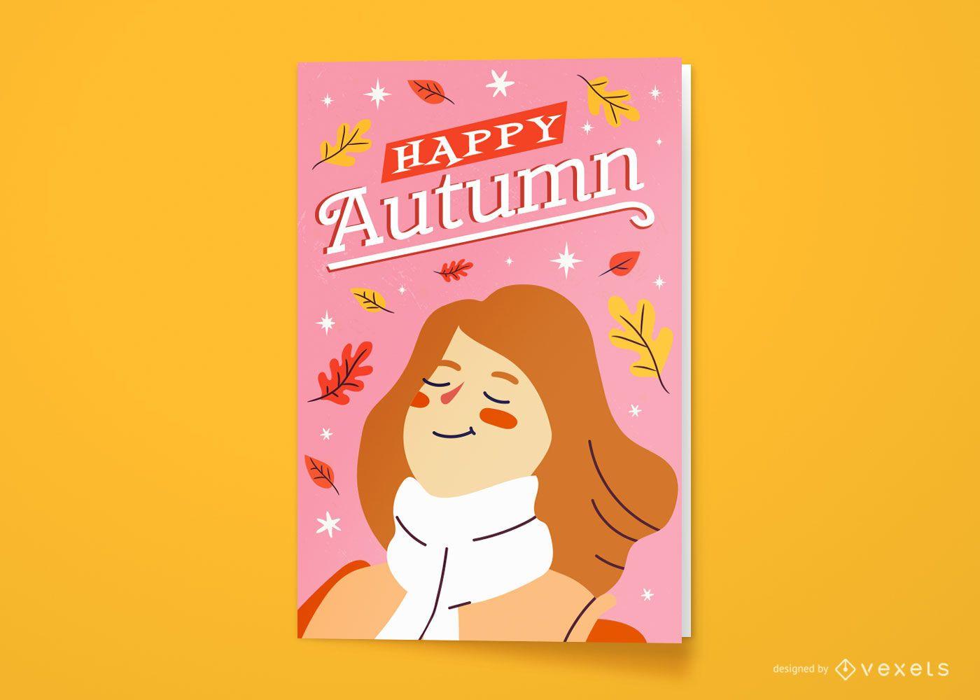 Design de cartão de saudação de mulher feliz temporada outono