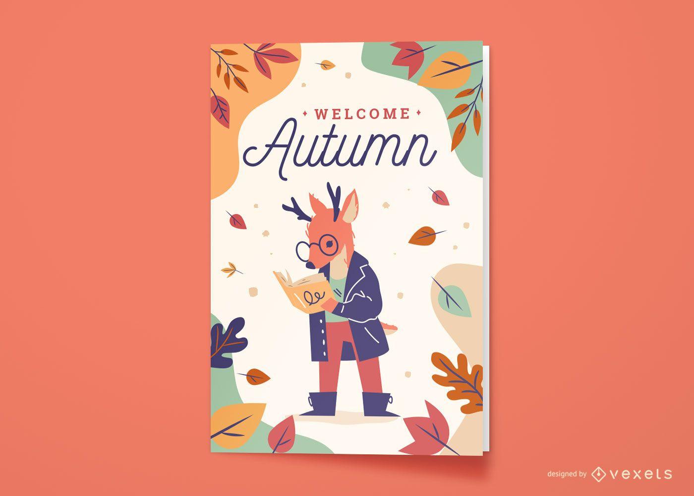 Cartão de felicitações de animais veados na temporada de outono