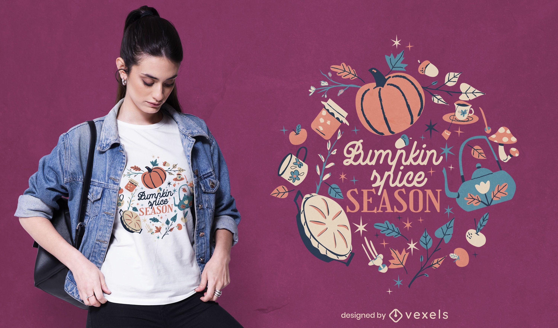 Diseño de camiseta de cita de temporada de calabaza de otoño