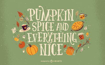 Diseño de letras de comida de calabaza de temporada de otoño