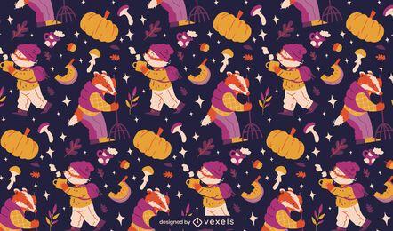Animais no design do padrão da temporada de outono