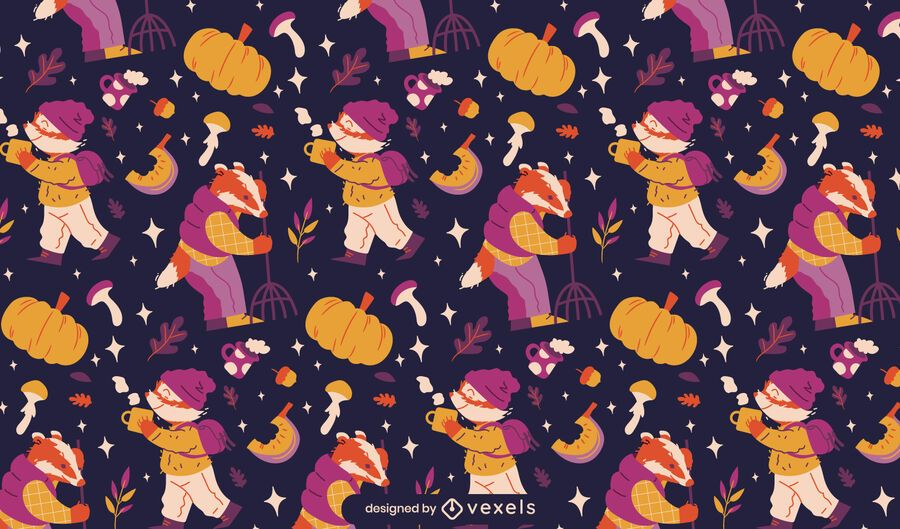 Animals in autumn season pattern design