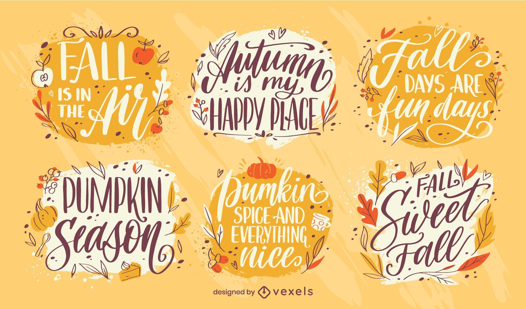 Conjunto de letras de citações da temporada de outono
