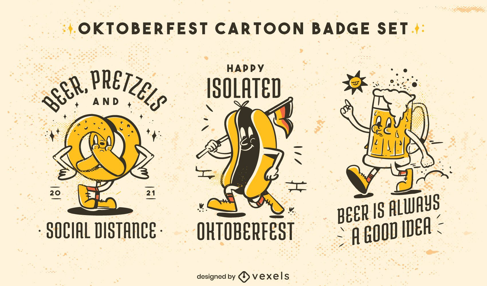 Conjunto de insignias de comida de dibujos animados retro Oktoberfest