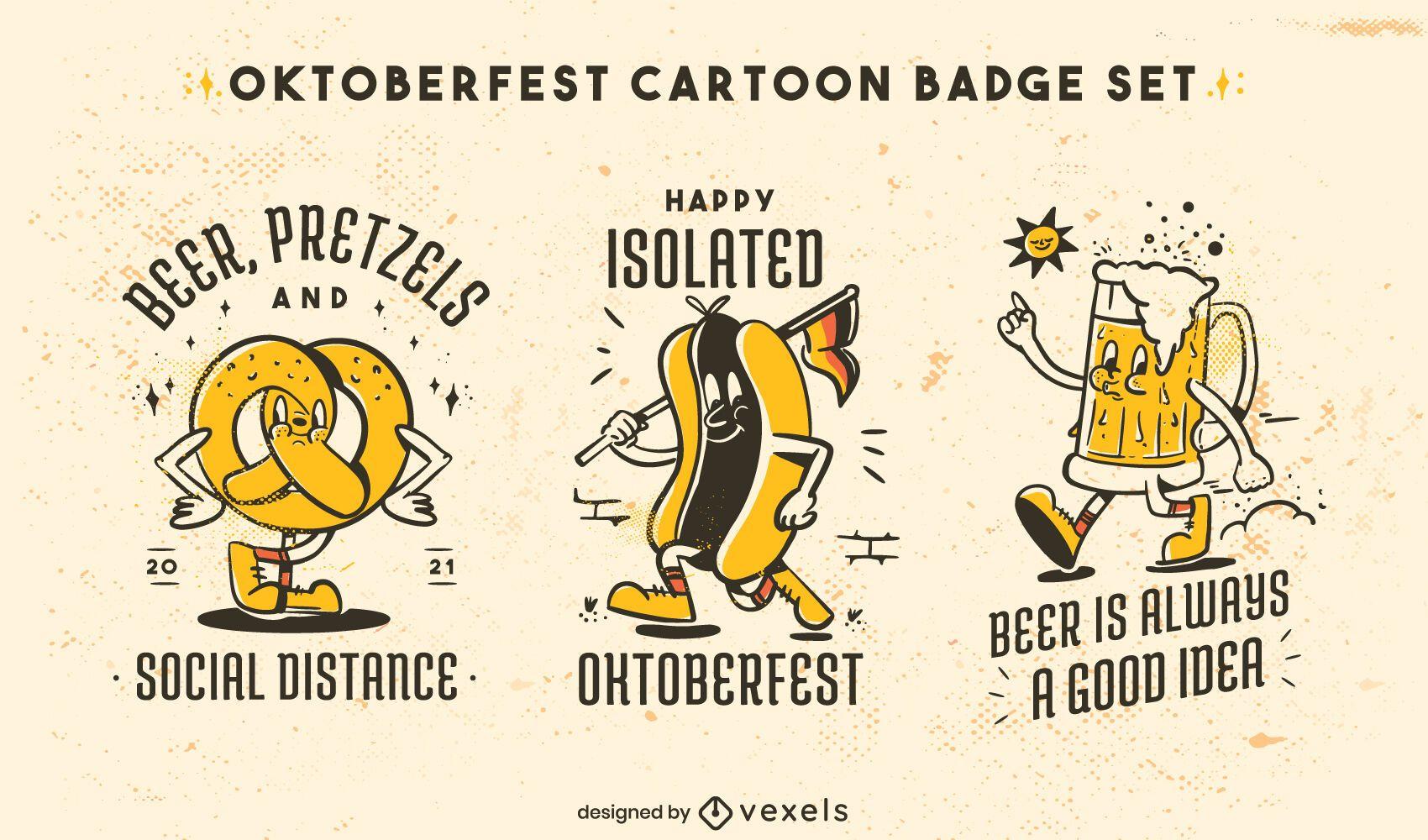 Oktoberfest-Retro-Cartoon-Essen-Abzeichen-Set