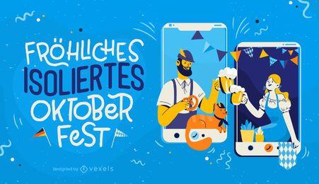 Ilustración de celebración a distancia de Oktoberfest