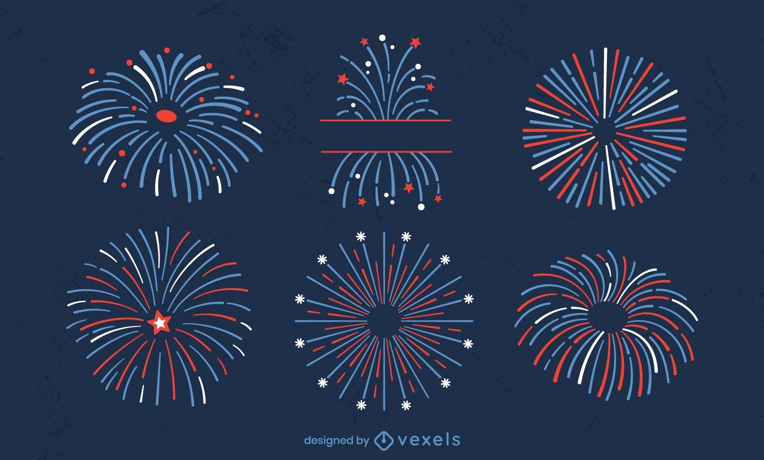 Conjunto de fuegos artificiales de vacaciones del cuatro de julio.
