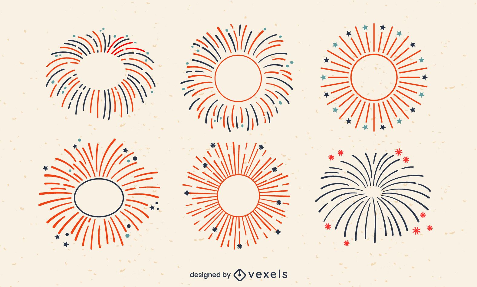 Conjunto de golpe de fogos de artifício de feriado de 4 de julho