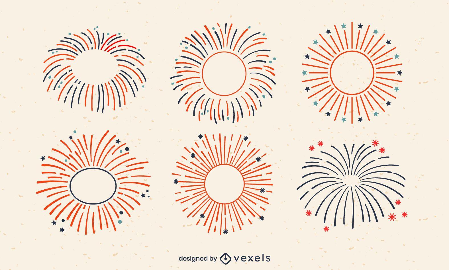 Conjunto de trazos de fuegos artificiales de vacaciones del cuatro de julio