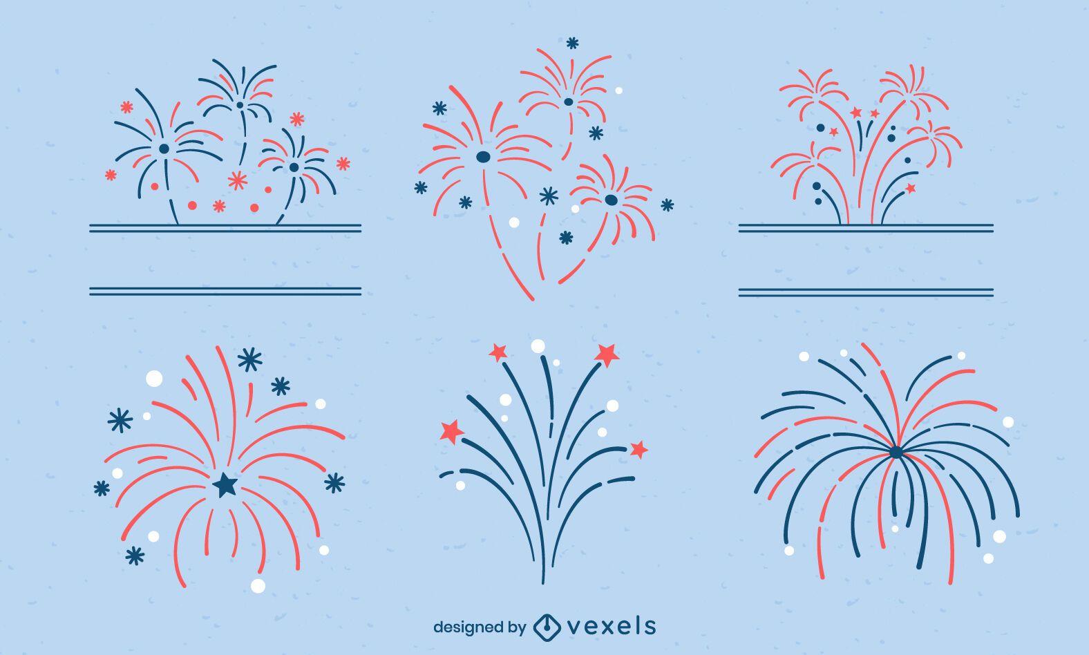 Conjunto de fogos de artifício no feriado do Dia da Independência