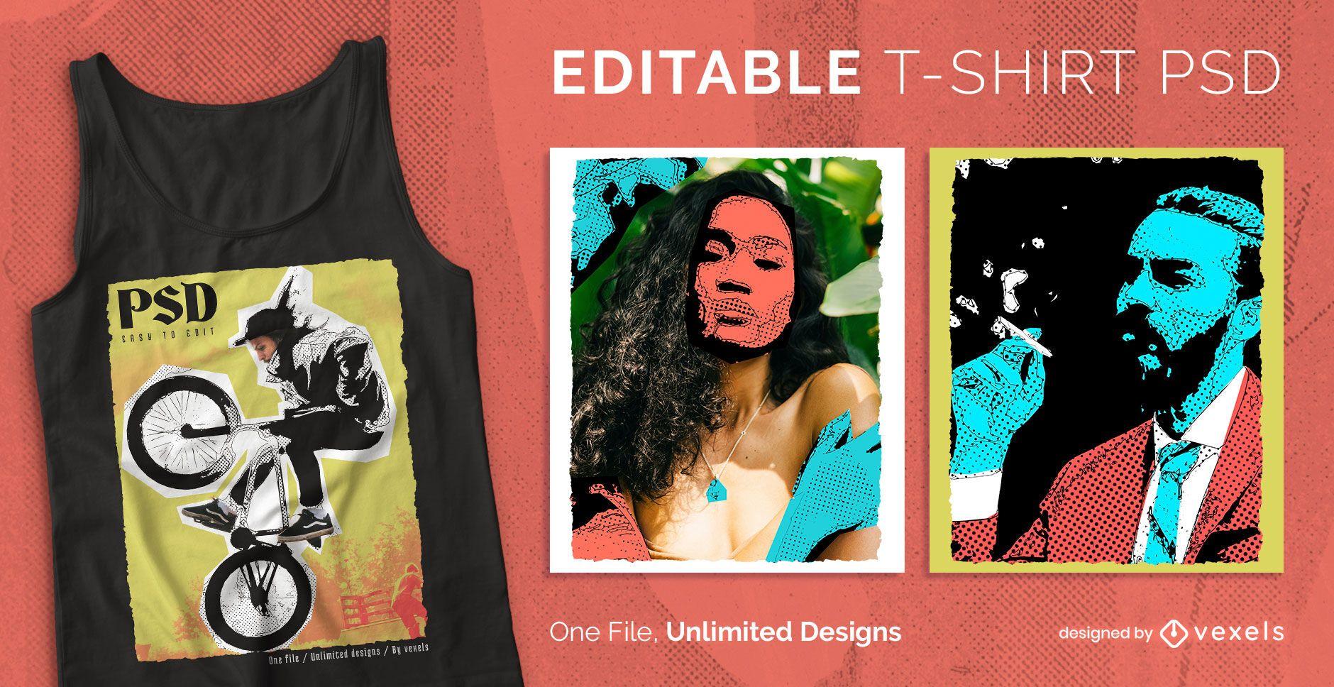 T-shirt escalável de fotografia pop art psd