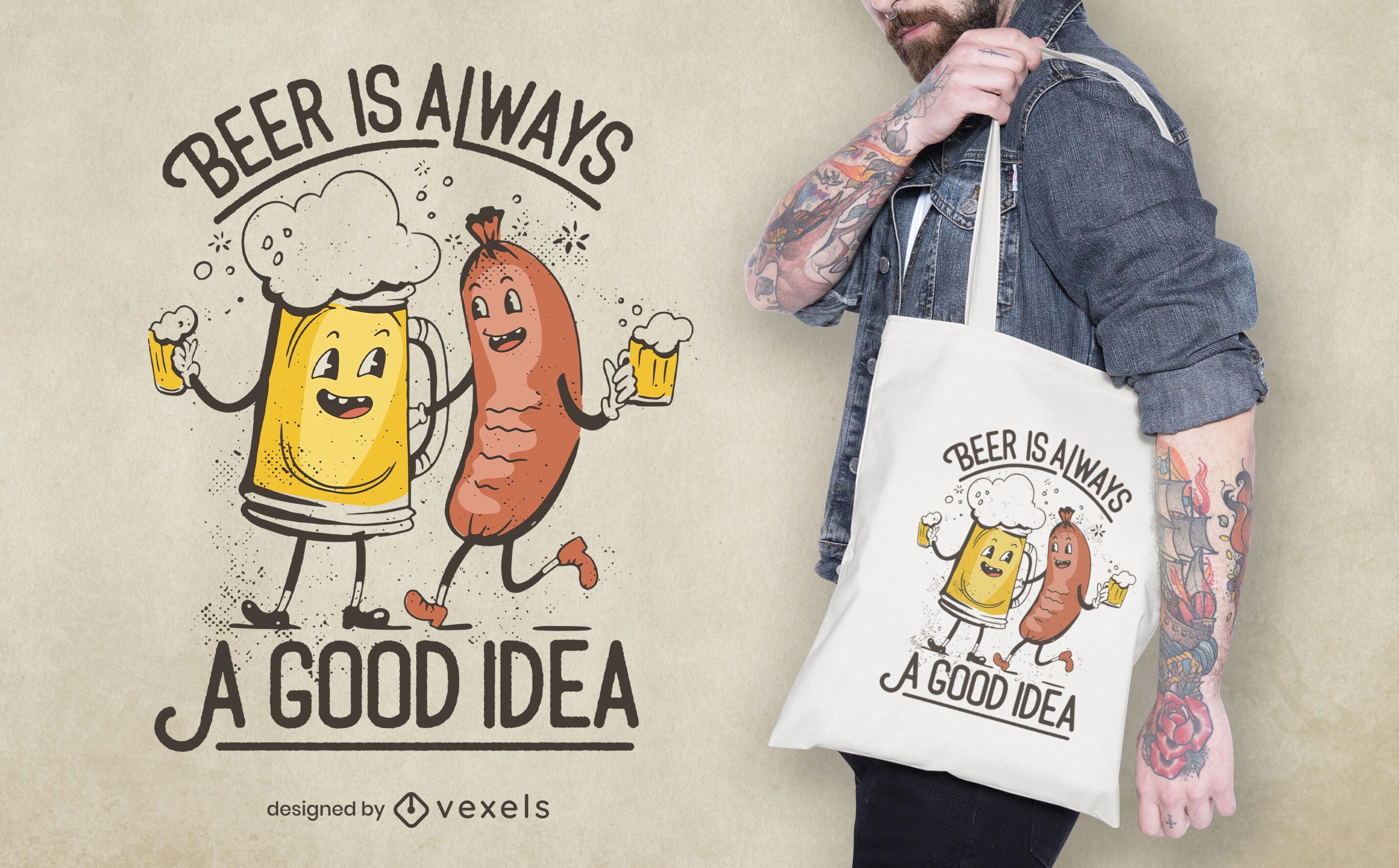 Oktoberfest beer and sausage tote bag