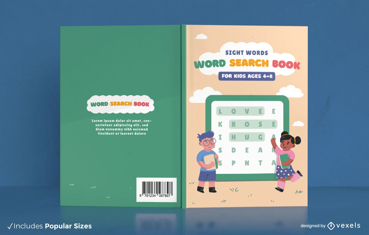 Word search book for children cover design