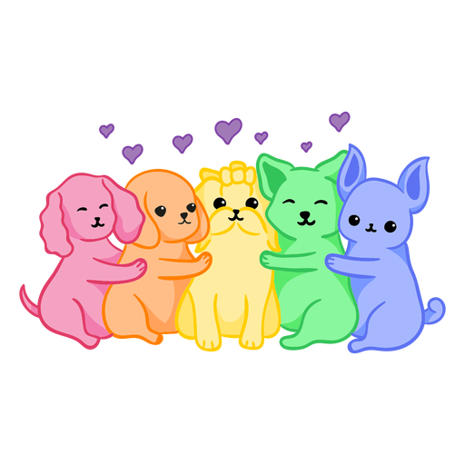 Rainbow dogs color stroke