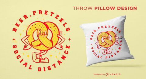 Pretzel & beer pillow vintage design