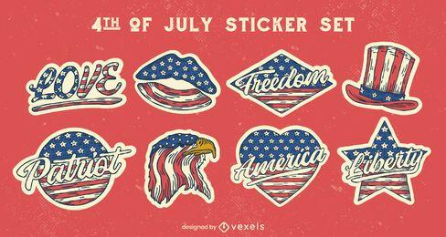 Conjunto de pegatinas de estilo vintage del cuatro de julio