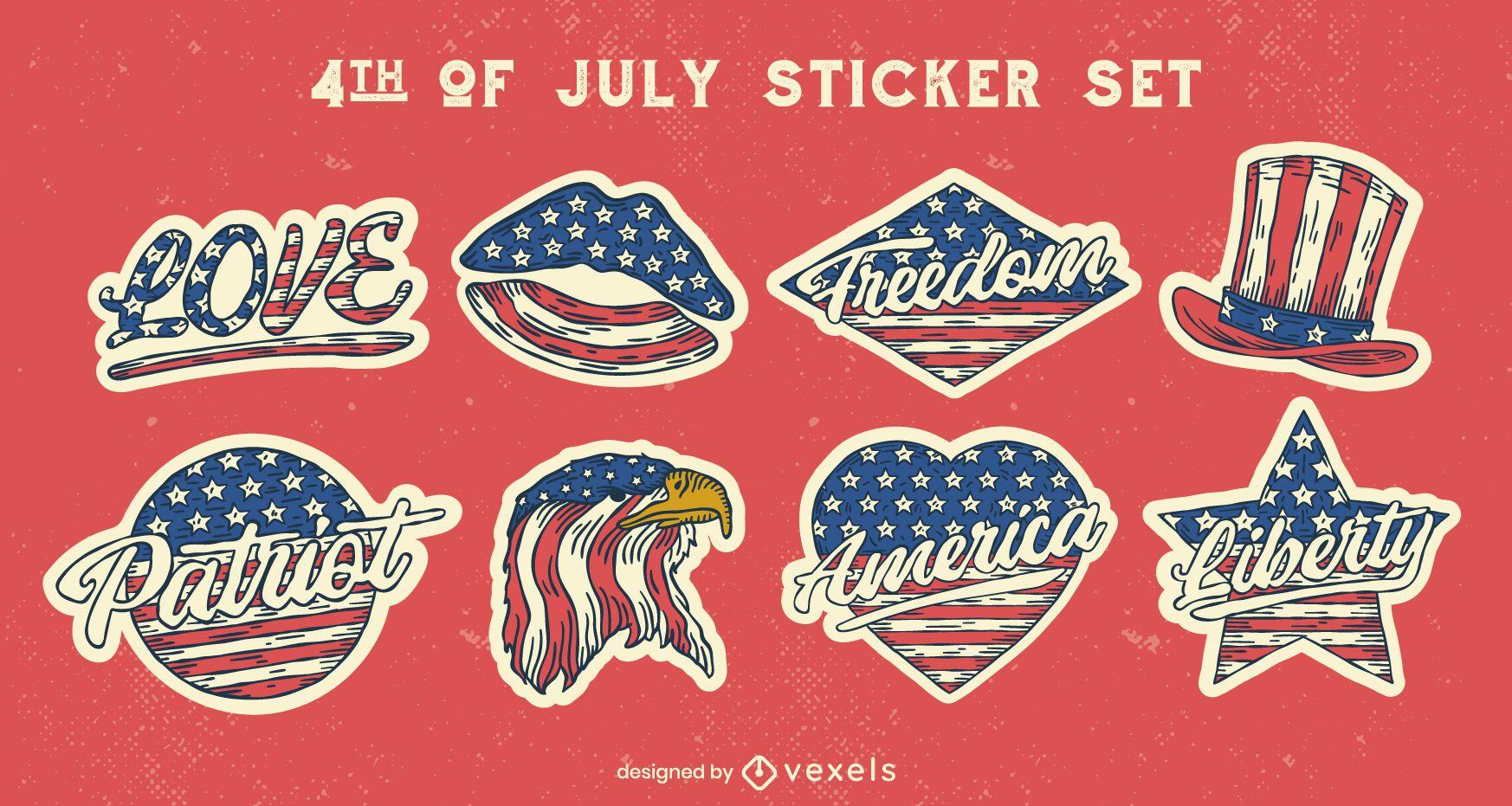 Conjunto de adesivos de estilo vintage de quatro de julho