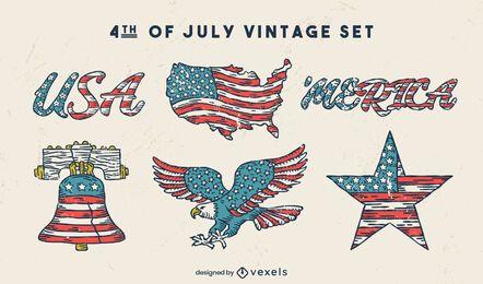 Conjunto vintage de vacaciones americanas del cuatro de julio