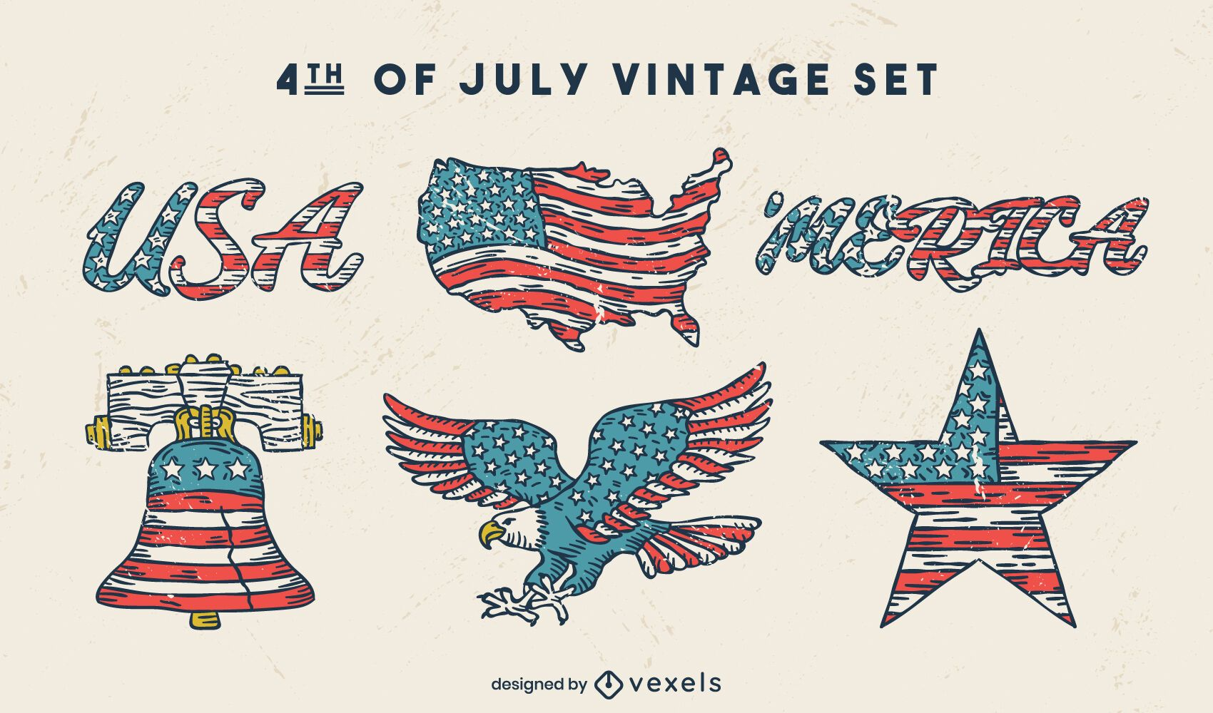 Fourth of july american holiday vintage set