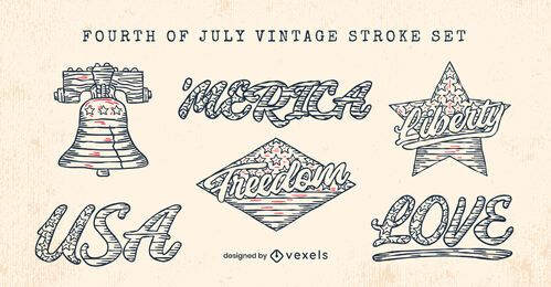 Fourth of july stickers set