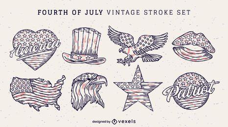 Conjunto de adesivos vintage de 4 de julho