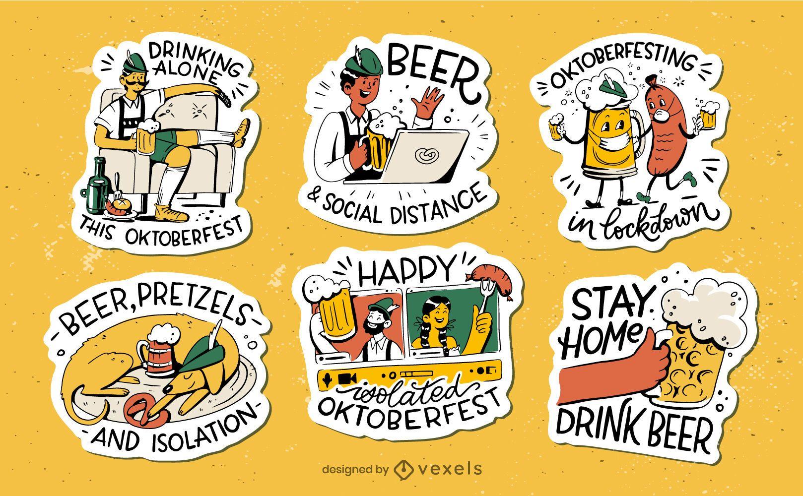 Set of hand drawn flat oktoberfest stickers