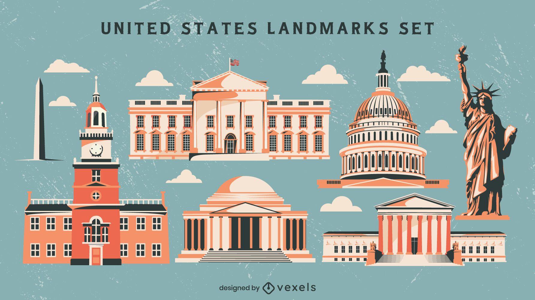 Conjunto de monumentos de estilo vintage dos Estados Unidos