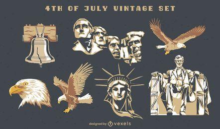 4 de julho conjunto vintage semi plano de elementos