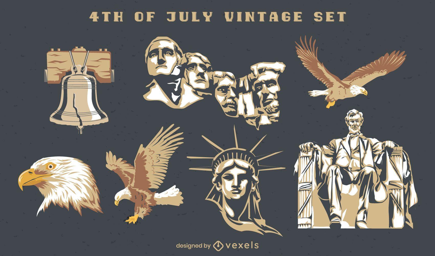 4 de julio conjunto semi plano vintage de elementos.