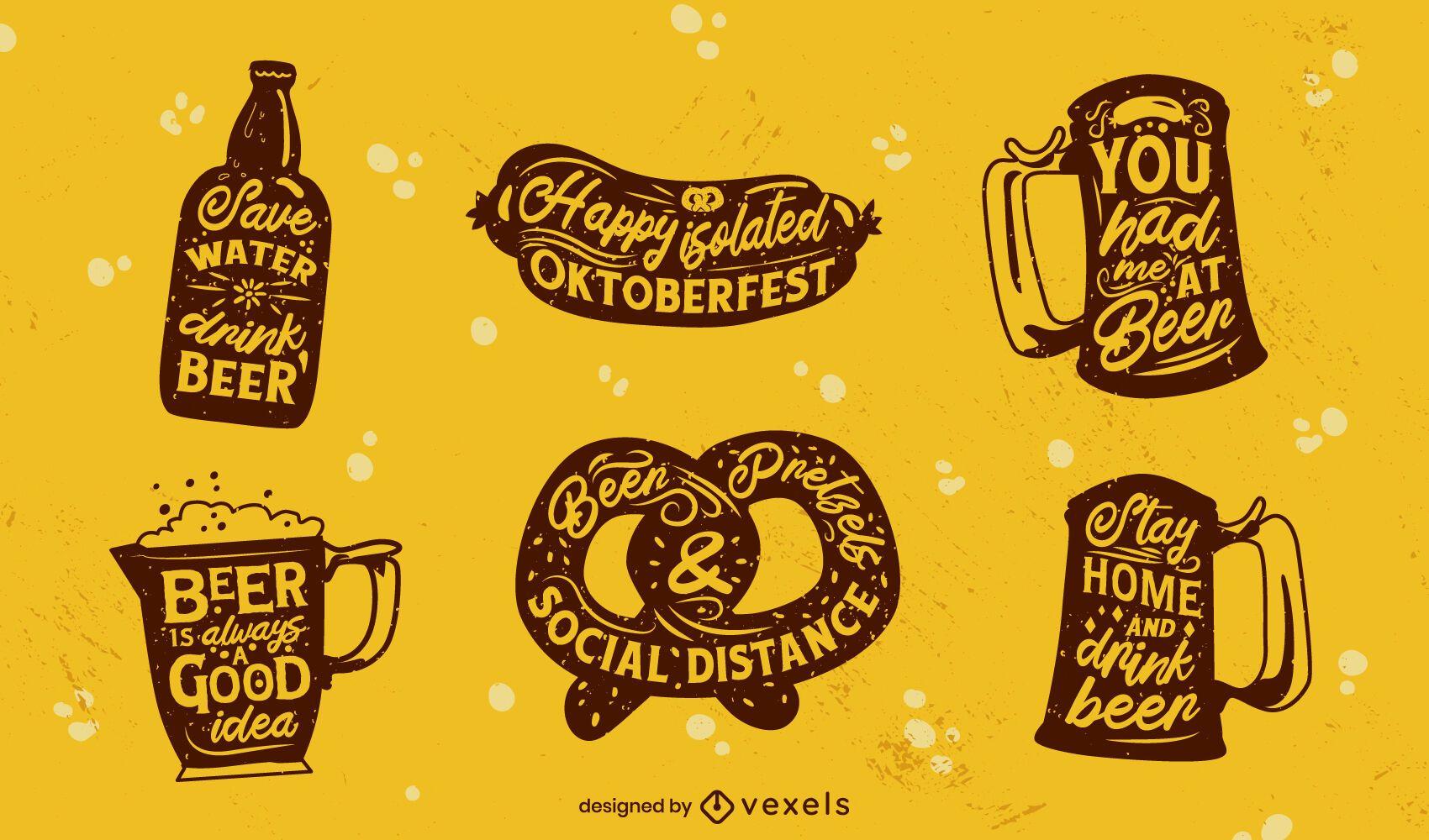 Set of lettering Oktoberfest badges