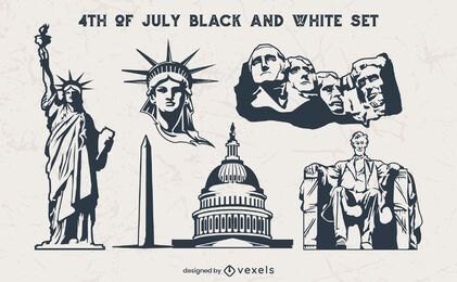 Elementos vintage preto e branco de 4 de julho