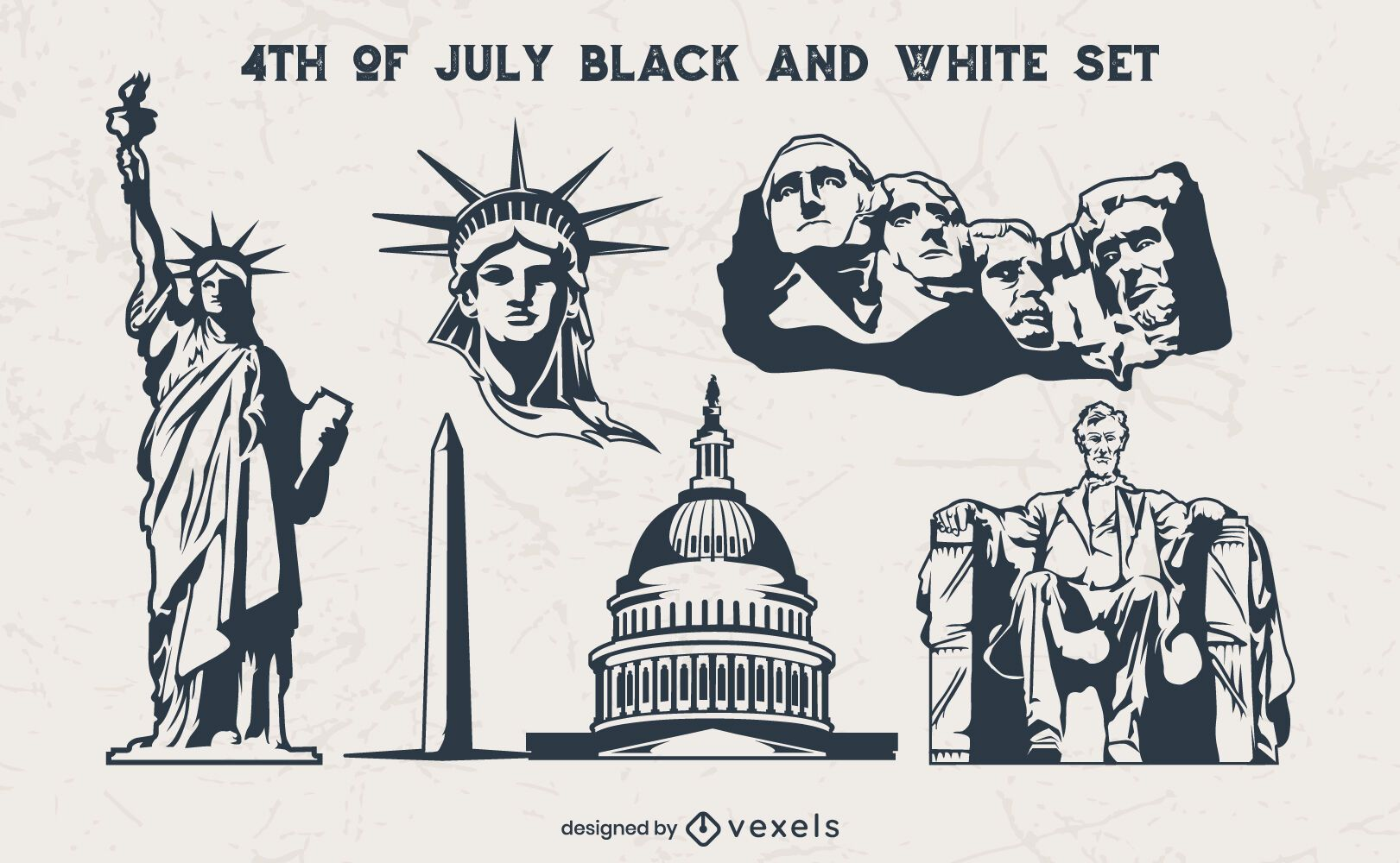 Vintage elementos del 4 de julio en blanco y negro