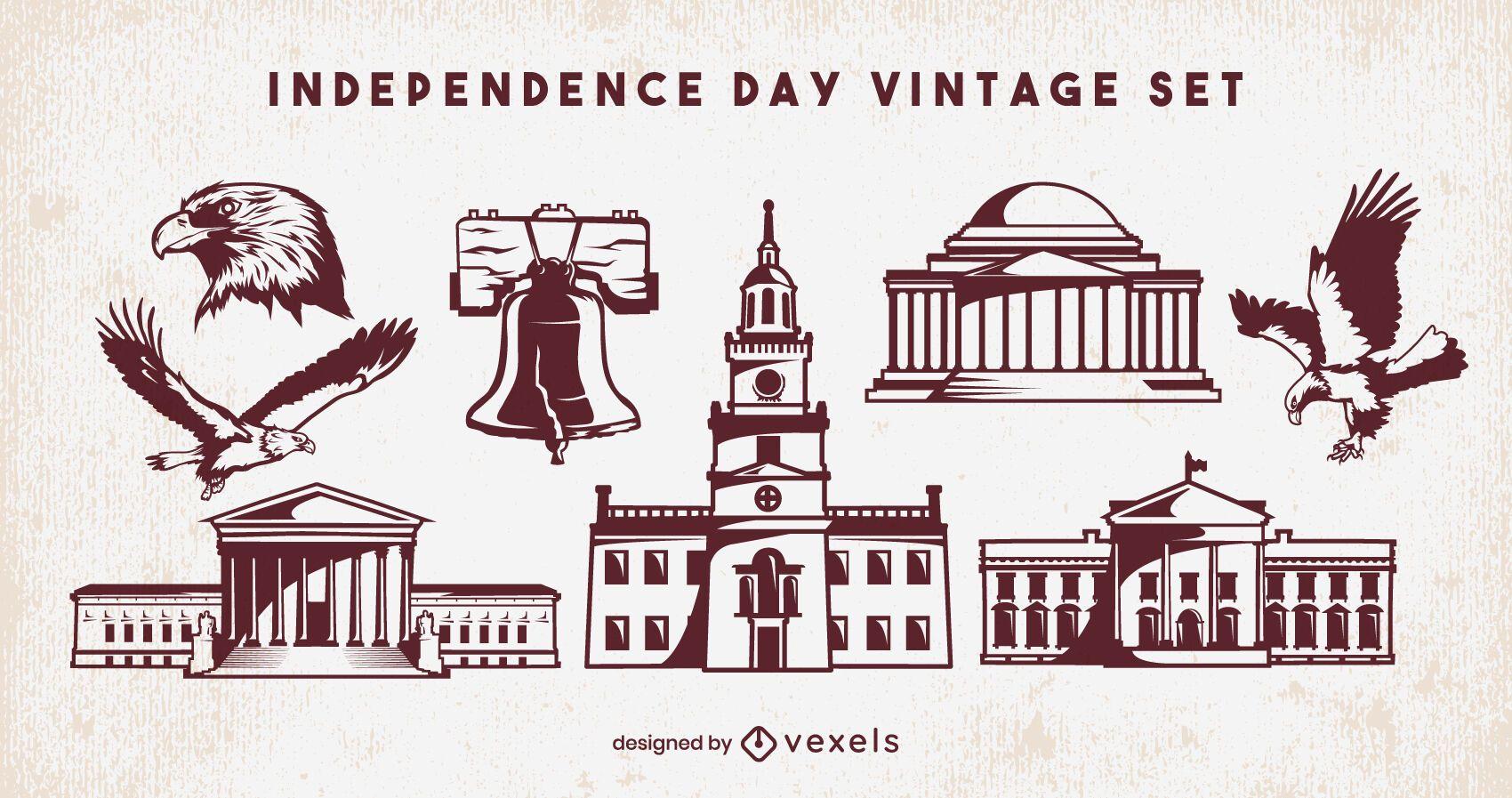 Elementos del día de la independencia en blanco y negro vintage