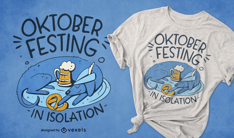 Diseño de camiseta de perro de aislamiento Oktoberfest