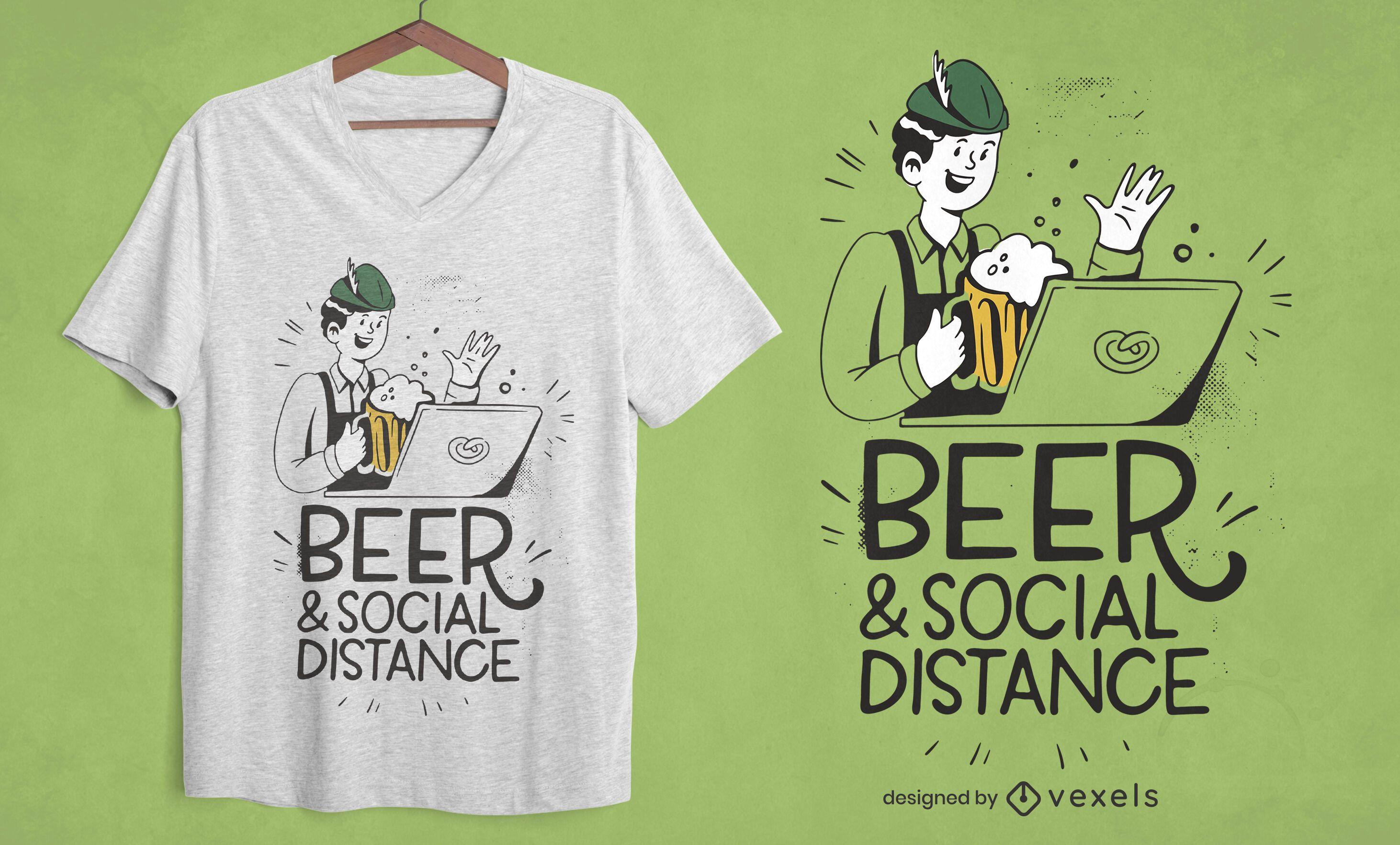 Diseño de camiseta de cerveza y distancia social.
