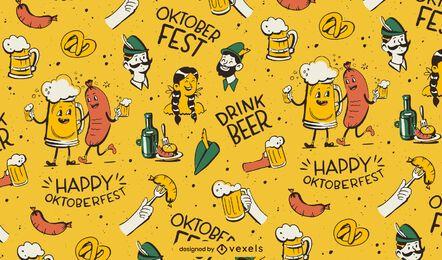 Padrão de personagens de desenhos animados da Oktoberfest