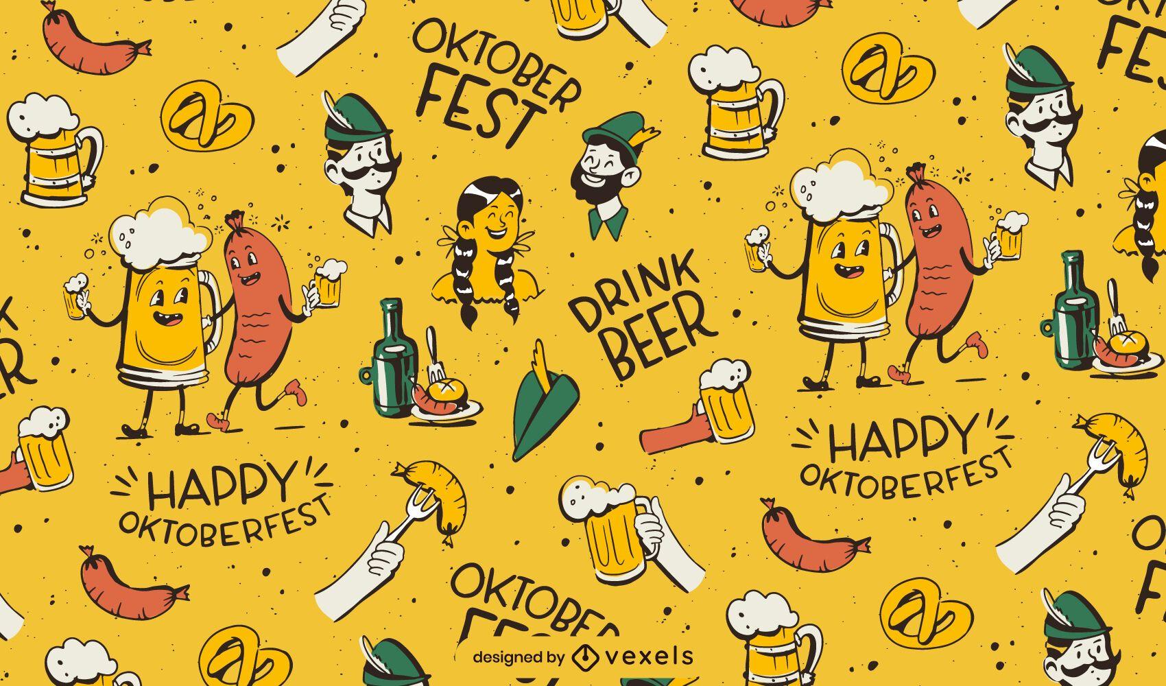 Oktoberfest cartoon characters pattern