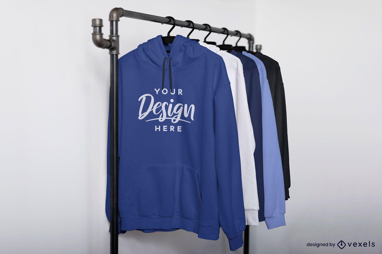 Diagonal view hoodies on rack mockup