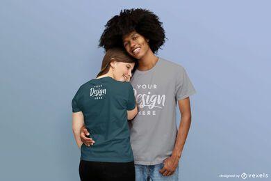 Couple hugging t-shirt mockup
