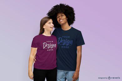 Smiling couple t-shirt mockup design
